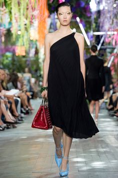 Black pleated dress by Christian Dior   Spring 2014 Ready-to-Wear Collection   Style.com