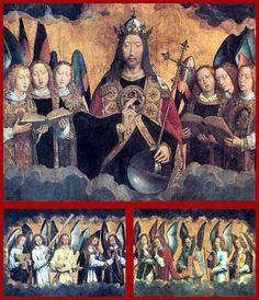 """ANGELES MÚSICOS """"Ángeles Músicos"""" (1480's, Koninklijk Museum voor Schone Kunsten, Antwerp). Retablo en tres tablas que fue realizado para decorar la zona del órgano de una Iglesia de Santa María la Real de Nájera (España). Se trata de una copia del Retablo de Gante pintado por los hermanos Van Eyck. En la escena central aparece Cristo rodeado de ángeles. El alargamiento de las figuras y su estructura horizontal se deben a que iba a situarse en alto y en un espacio alargado. La tabla central…"""