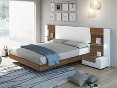 Modern Garcia Sabate Altea Bed in Matt White & Nogal Wood Opt Bedside Cabinets Bedroom Bed Design, Bedroom Furniture Design, Bed Furniture, Modern Bedroom, Bedroom Ideas, Modern Beds, Modern Bedding, Master Bedrooms, Luxury Bedding