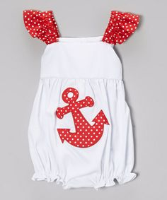 Look what I found on #zulily! Red Anchor Applique Angel-Sleeve Bubble Bodysuit - Infant #zulilyfinds