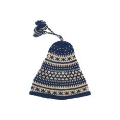 Blue & Cream Conical Wooly Hat W/ Top Tassel - Vintage clothing from... ❤ liked on Polyvore featuring accessories, hats, beanies, vintage beanie hats, vintage hats, beanie cap hat, cream beanie hat and cream beanie
