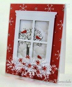 Wintery/Christmas card (Another Window Card) soooooo many beautiful cards! Marrs Marrs Matteson, you would do SO good with this! Xmas Cards, Holiday Cards, Window Cards, Creative Cards, Cute Cards, Christmas Projects, Greeting Cards Handmade, Scrapbook Cards, Homemade Cards