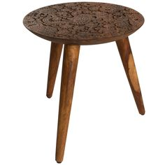 The beautiful Sheesham Carved Side Table has been inspired by the wooden stamps, needed for printing fabric patterns, created by the woodcarvers from the Dhundhar region in India. The stunning table is perfect for adding some character to your living r Media Table, Large Table, Wood Species, Table Furniture, Pillow Design, Types Of Wood, Printing On Fabric, Solid Wood, Carving