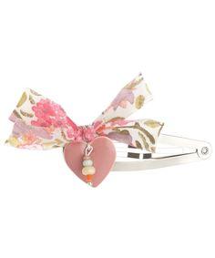 Pink Heart Liberty Print Bow Hairclip, Inspirations by La Girafe. Shop more Liberty print children's accessories from the Inspirations by La Girafe collection online at Liberty.co.uk.