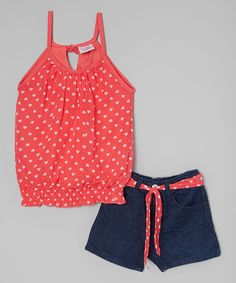 Look at this #zulilyfind! Red Heart Tank & Shorts - Infant, Toddler & Girls #zulilyfinds