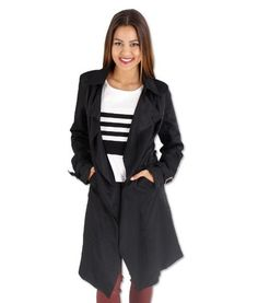 Anne Waterfall Trench Coat Jacket – Black | redthread7.com.au The Soft Trench – take a softer approach to this season's Best Seller.  The waterfall trench coat. I'm loving it! Pair it with heels, ripped jeans and you are good to go! It looks classy and neat. www.redthread7.com.au