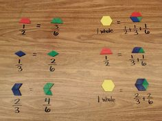 Pattern Blocks: Equivalent Fractions- similar to one of our Everyday Math lessons 4th Grade Fractions, Teaching Fractions, Equivalent Fractions, Fourth Grade Math, Teaching Math, Adding Fractions, Third Grade, Dividing Fractions, Multiplying Fractions