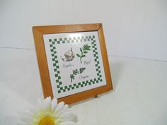 Vintage Ceramic Tile with Hand Painted Herbs by DivineOrders