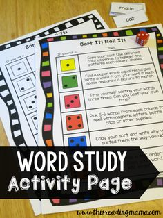 FREE Word Study Activity Page ~ extension activities for after kids sort their words   This Reading Mama