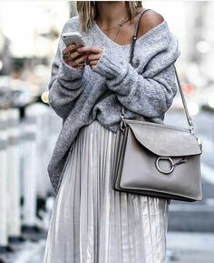 grey-outfit-knit-sweater-with-pleated-skirt- Fashion forward outfits to wear this fall