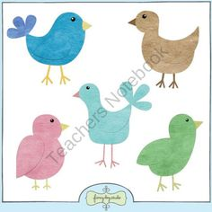 Textured Paper Pieced Birds Clip Art product from Fancy-Dog-Studio on TeachersNotebook.com