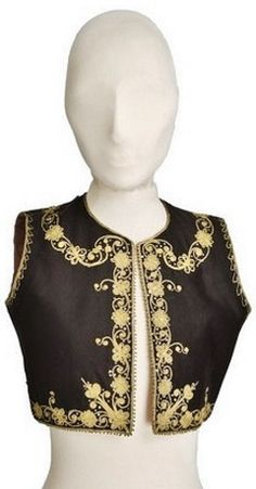 Dark brown velvet 'yelek' (waistcoat) edged with gold cord embroidery and sequins. For women, late-Ottoman style, ca. 1900. Part of a traditional festive costume. Originating from Jewish families in Greece. (© The Jewish Museum of Greece, Athens).