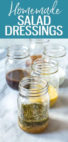 These 5 Healthy Homemade Salad Dressings are so easy and delicious, and will last in your fridge up to 2 months! Try Italian, ranch, balsamic, honey dijon and ginger sesame! #salad #dressing Healthy Meals To Cook, Good Healthy Recipes, Clean Eating Recipes, Eating Healthy, Healthy Eats, Delicious Recipes, Low Carb Recipes, Healthy Foods, Whole Food Recipes