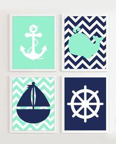NAUTICAL PRINTS Chevron Nautical Nursery Mint and von PrincessSnap
