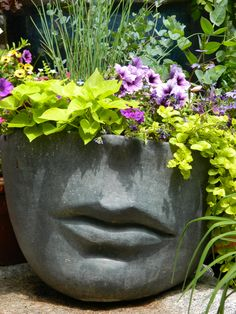 Quest For Contentment: Flower Arrangements: Ikebana, Tropical and Contemporary Face Planters, Concrete Planters, Garden Planters, Cement, Arrangements Ikebana, Flower Arrangements, Container Plants, Container Gardening, Flower Vases