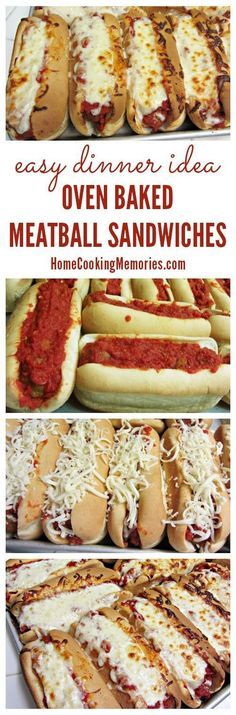 Oven Baked Meatball Sandwiches -- a super easy dinner idea for busy weeknights. What's not to love about meatballs & melted cheese? Great meal idea for a crowd too - even instructions for baking to ta (Meatball Sandwich Recipes) Comida Pizza, Oven Baked Meatballs, Chicken Meatballs, Beef Recipes, Cooking Recipes, Meatball Recipes, Recipes With Meatballs, Meatball Dinner Ideas, Recipies