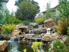 Castro Valley landscape and landscape design contractor Backyard Water Feature, Ponds Backyard, Backyard Waterfalls, Backyard Ideas, Waterfall Design, Garden Waterfall, Garden Pond Design, Landscape Design, Small Water Gardens