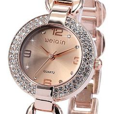 ++CANALOHA:-)++ WEIQIN Bling Crystal Mother of Pearl Dress Bracelet Bangle Fashion Dress Wrist Watch