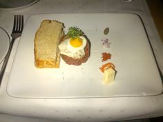 Beef tatar, quailegg sunny side up and homemade toasted bread @ Restaurant EF16