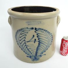 """19th c. Berger & Co. Rochester N.Y. double fern leaf decorated crock. 11 1/2"""" Ht."""