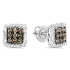 Fashioned in cool 10K White Gold, each dazzling stud features an array of elegant champagne & shimmering white diamonds arranged in a squared frame. Radiant with 0.60 ct. t.w. of diamonds and buffed to a bright luster, these stylish stud earrings secure comfortably with screw backs.