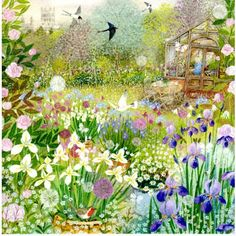 Pretty greetings card for any occasion illustrated with a gorgeous cottage garden in spring by Lucy Grossmith