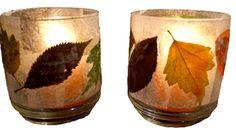 leaf votive ~ thanksgiving craft ~ Schoolinourhomeleafvotives