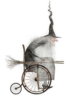 Witch in a Wheelchair Art Illustration Fete Halloween, Holidays Halloween, Vintage Halloween, Halloween Crafts, Halloween Decorations, Origami Halloween, Halloween Pictures, Desenhos Tim Burton, Illustration Art