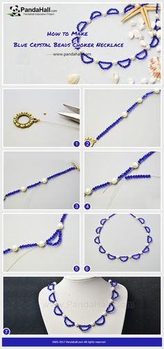 Blue Crystal Beads Choker Necklace The wonderful part of the necklace is the sea wave pattern made with imitation crystallized glass beads. The main color is blue embellished with white and gold. All of these makes the necklace simple and elegant! #pandahall #howto #freetutorial #crystalgchokernecklace #bluenecklacemaking #freebeadingpatterns