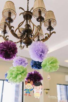 Pompom flowers on the chandelier