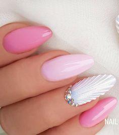 Happy Stars Shine The Brightest -{ Maybeanothername }× - сделаю - Nail Art Ideas Gel Nail Art, Nail Manicure, Acrylic Nails, Sea Nails, Pink Nails, Cute Nails, Pretty Nails, Seashell Nails, Gel Nagel Design