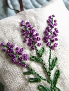 Lavender Sachet Hand Embroidered Flowers by allisajacobs on Etsy Mais French Knot Embroidery, Silk Ribbon Embroidery, Embroidery Applique, Cross Stitch Embroidery, Embroidery Patterns, Art Patterns, Japanese Embroidery, Flower Embroidery, Lavender Sachets