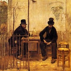 """The world does not need your morals it needs beer.  It does not need your lectures or your charity.  The souls of men have been fed on indigestibles, but the soul could make use of beer."" (Henry Miller) Art: The Absinthe Drinkers by Jean François Raffaelli"