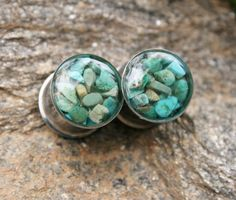 "Turquoise Plugs made with real turquoise chips custom size 00g, 7/16g, 1/2g, 9/16g, 5/8, 3/4g, 7/8g, 1"" on Etsy, $32.00"