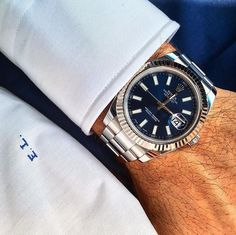 Datejust II with the fluted bezel and blue face with matching monogram