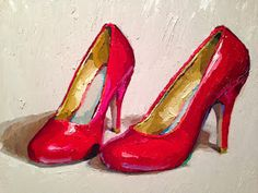 Karen Appleton: Rise and Shine Fashion Art, Fashion Shoes, Different Art Styles, Life Paint, Virtual Art, Historical Art, Shoe Art, Painted Shoes, Red Shoes