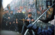Fall of the Berlin wall. Powerful moment of the reunification of germany which makes for an interesting image with the spray of water and blur.