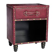 """Style at Home with Margie Kingston 19"""" Hand-Tufted Faux Leather Side Table"""