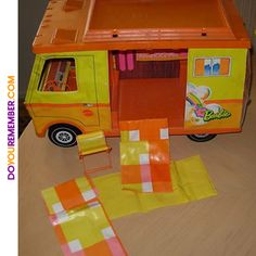 Vintage BARBIE COUNTRY CAMPER with ACCESSORIES - We spent hours playing with this. Barbie truly had the ultimate camping experience, from grilling meals over the fire to snuggling inside her sleeping bag under the stars!
