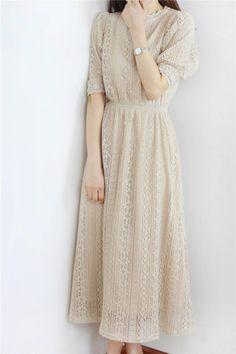 [预售]杏色全蕾丝花边勾花连衣裙Q-319