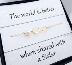 Gold infinity bracelet, Sister gifts, Friendship bracelet, Sorority sisters, Sorority jewelry, Sister card, pearl bracelet, adjustable