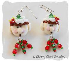 Christmas Elves Lampwork Beaded Earrings...