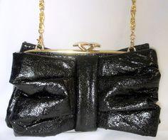 81068d8a80b05 Shiny Black Bow Tie Clutch Handbag