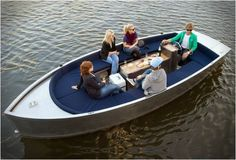 ALUMINUM ELECTRIC BOAT-Developed by Amsterdam based design company SpringTime, the Stroom is an electric aluminum boat, tailor-made for sailing along canals and inner waters. I want one!!