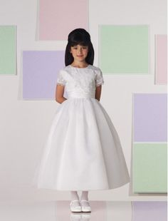 Organza and Satin Short Sleeves Tea-Length A-line Flower Girl Dress with Lace Overlay - Bridal Party Dresses - goodcheapweddingdress