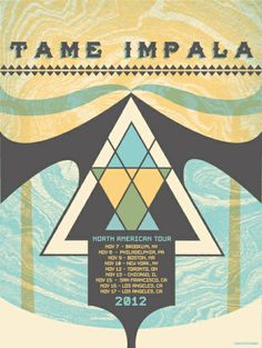 Status Serigraph: Tame Impala - US Tour poster Tame Impala, Tour Posters, Band Posters, Music Posters, Music Illustration, Music Artwork, Concert Posters, Graphic Design Typography, Poster Prints
