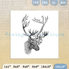 Printable Image Deer with Antlers Graphic by VintageRetroAntique