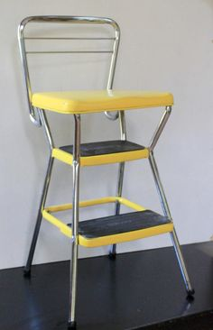 Vintage Yellow Cosco Step Stool Chair