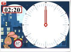 """""""El reloj digital y el reloj de agujas"""" es un bonito juego, de grydladzieci.edu.pl, en el que hay que marcar en el reloj de agujas la hora indicada en el relog digital."""