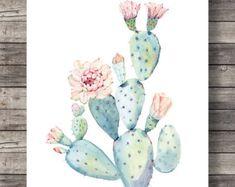 Cactus tú y yo  Cactus de San Valentín  Acuarela cactus